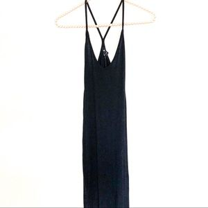 NWT{ASOS} Black Racer Back Maxi Dress Cotton 4